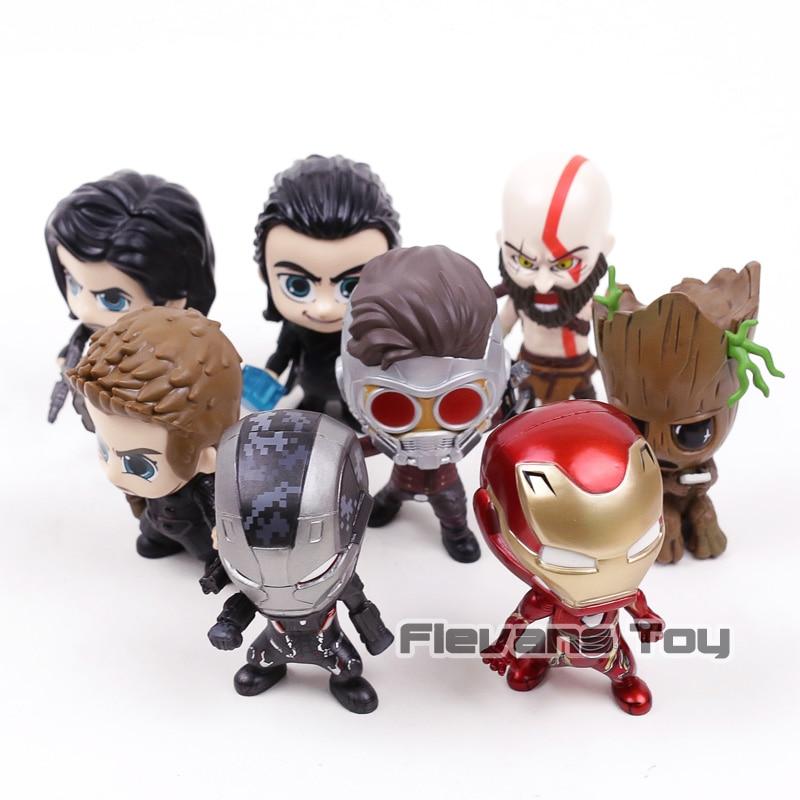 Marvel Avengers Thor Loki Iron Man War Machine Étoiles Seigneur Kratos Winter Soldier Action Figure Jouets Décoration De Voiture Poupées 8 pcs/ensemble