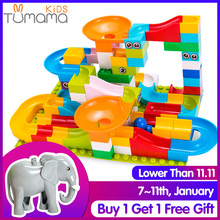 Tumama 52-208Pcs Marble Race Run Maze Balls Track Building Blocks Funnel Slide Big Size Building Brick Compatible Legoed Duploed cheap No Eating Self-Locking Bricks Unisex 3 years old Plastic 10159362 Type 52PCS 104PCS 156PCS 208PCS Marble Blocks Kids Toys Children Toy