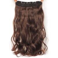 Xi. Felsen 4 Farben Clip in Haarverlängerung 60 cm Länge Synthetischen 5 Haarspangen Extensions 120g Wellenförmige haarnadel Haarteil schwarz 1010