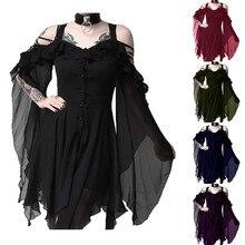 Женское платье, модное, с оборками, с рукавами, с открытыми плечами, готическое, миди платье, летнее, повседневное, женское, пляжное платье Vestidos размера плюс 5XL