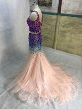 Mode Liebsten Prickelnde Perlen Glitter Diamant Strass Meerjungfrau Crop Top 2 Zweiteiler Prom Kleider 2015 Formelle Maxi Kleid