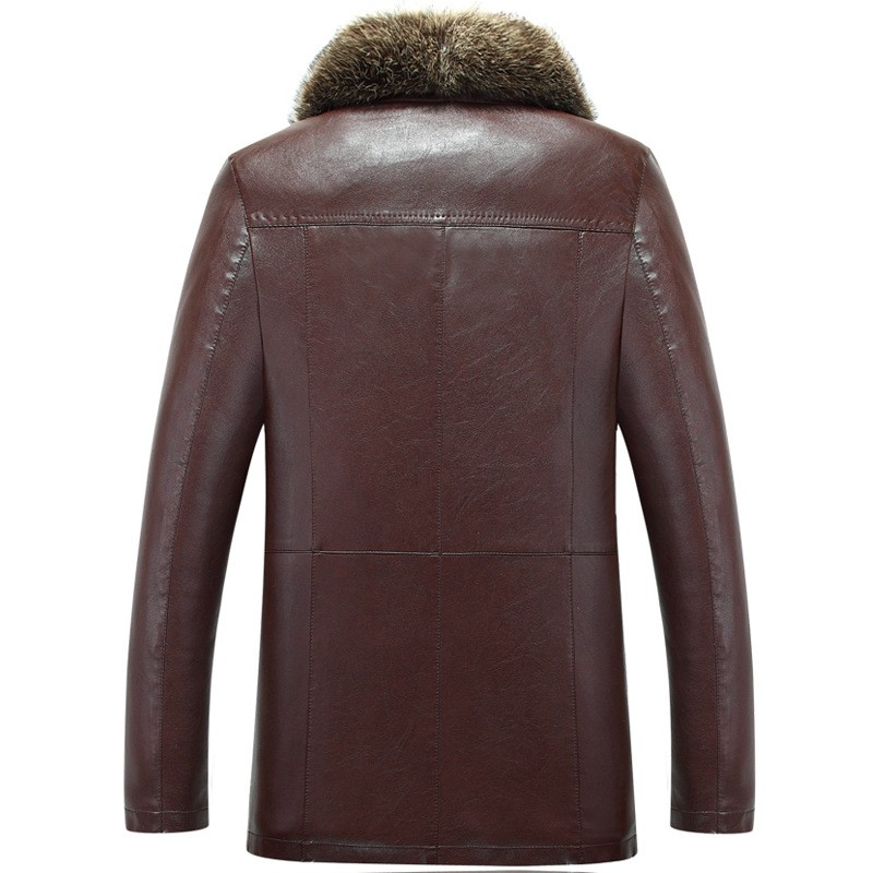 Winter Sheep Leather Men Raccoon Fur Men Long High Quality Solid Color Thickening Velvet Leather Coat Outerwear Parkas MZ1158