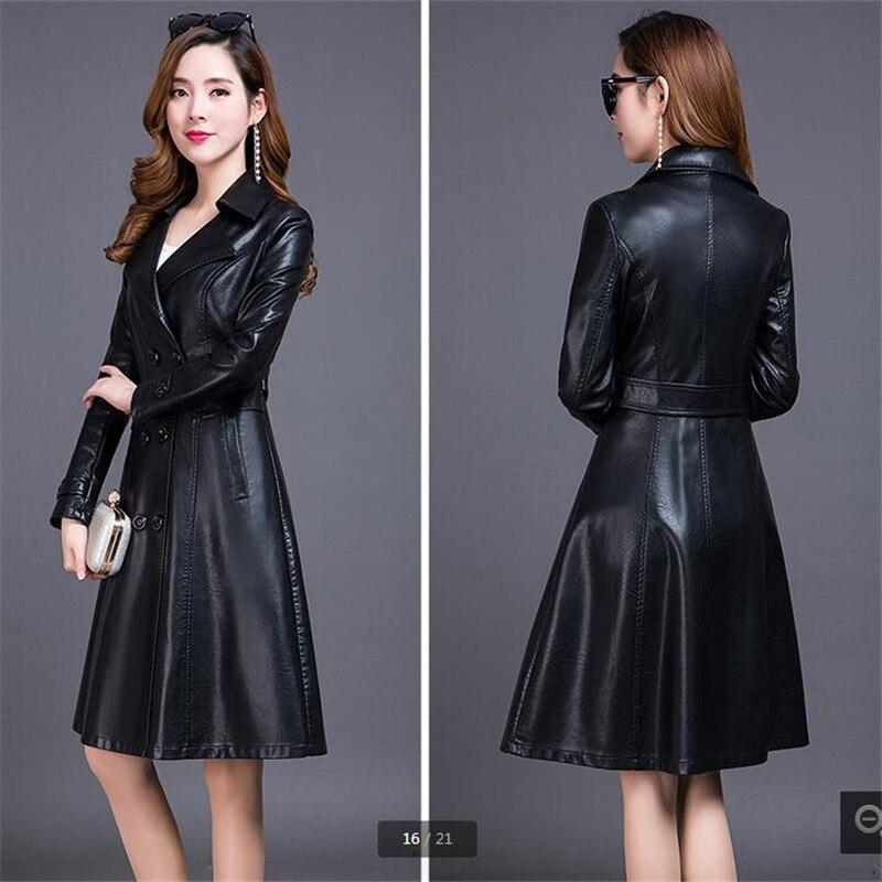 Automne En Qualité Pour Blue light Cuir Manteau Femmes De Black Manteaux Loisirs 2018 Haute Printemps Veste K3712 Long Pu C1wzn
