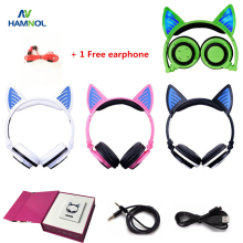 Wireless Bluetooth V4.2 Headset Cat Headphone Glowing Cat Ear Earphone with Mic for PC Computer and Mobile Phone