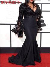 Женское вечернее платье с длинным рукавом черное кружевное Русалка