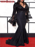Plus Size Black Celebrity Dresses Long Bell Sleeves Sequins Prom Dress 2019 Black Lace Mermaid Evening Gowns