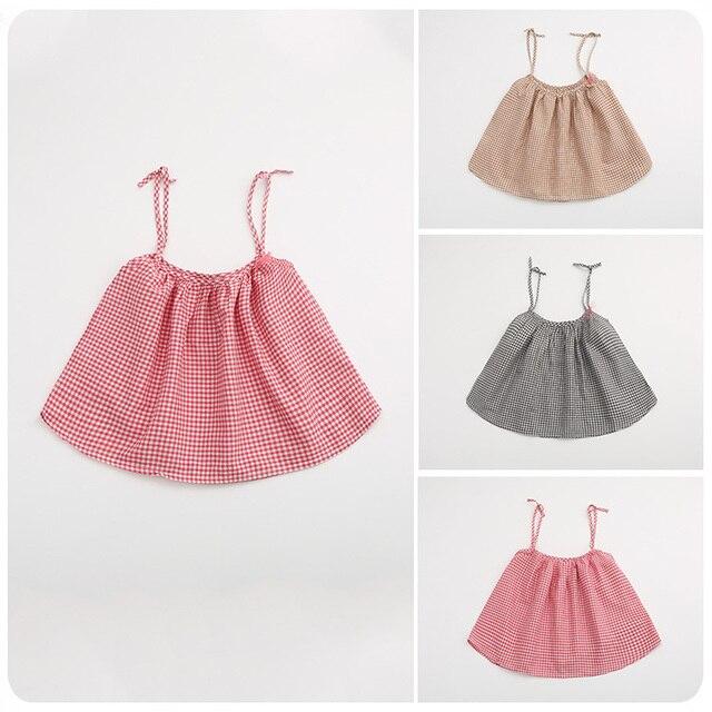 Korean Girl Children's Garment 2016 Spring Summer New Girl Precious Lattice Camisole Skirt  Children Doll Unlined Upper