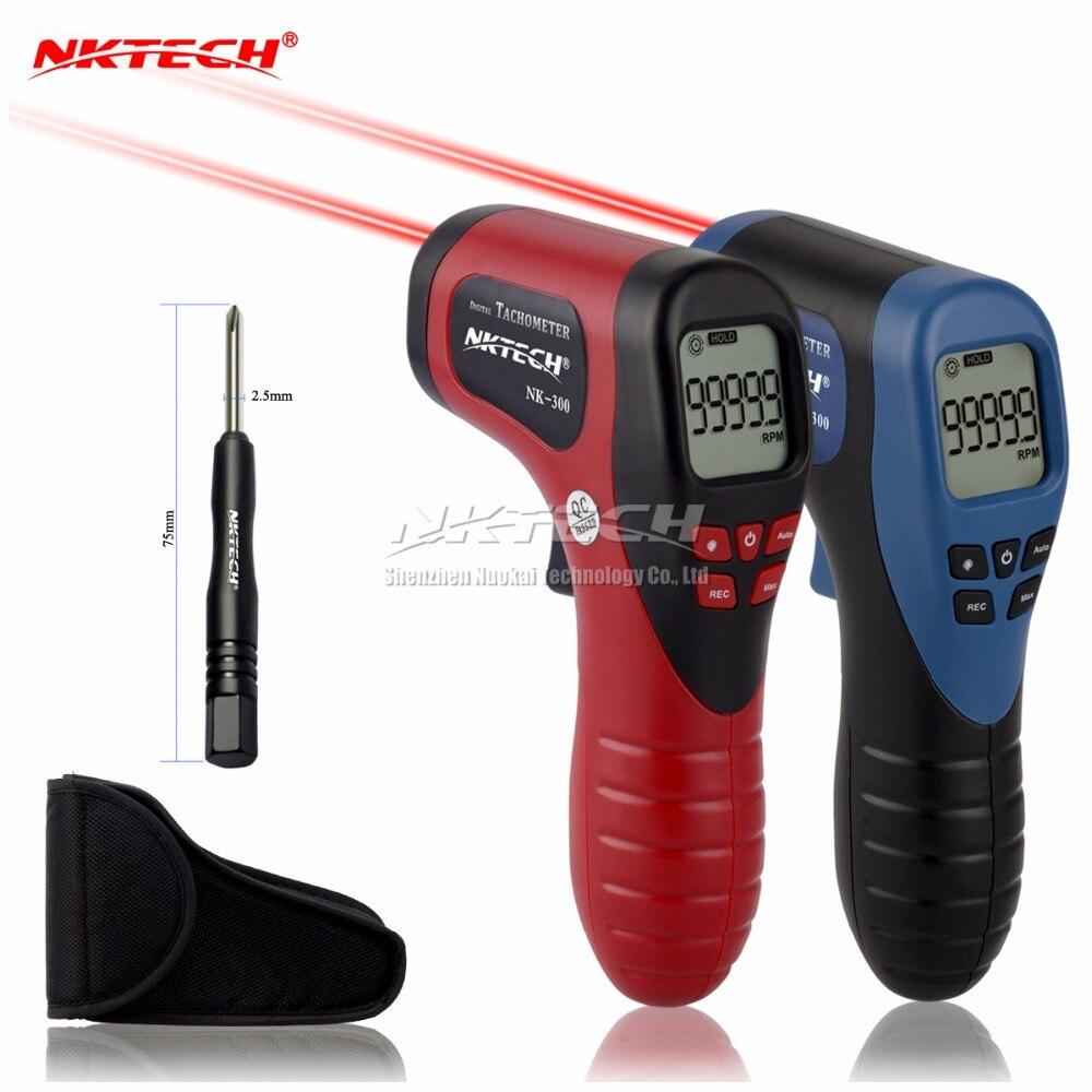 NKTECH Laser Photo Numérique Tachymètre NK-300 Sans Contact Gun Mesure Gamme 2.5-99999 RPM Outil LCD Rétro-Éclairé Données tenir Indicateur Jauge