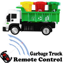 4WD RC Truck Dumper Recycling Garbage Truck With 3 Trash Cans Kids Birthday Gift Educational Toy car model Rubbish Vehicle(China)