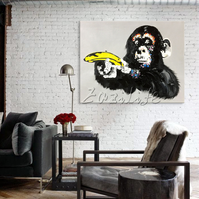 Canvas painting pop art Animal acrylic painting the monkey hand with banana Wall art Pictures For Living Room home decor caudros in Painting Calligraphy from Home Garden