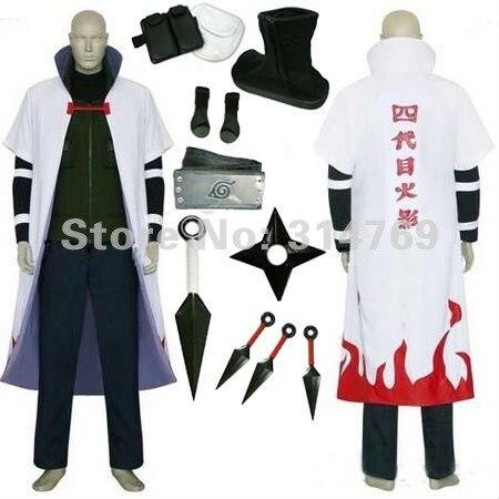 Наруто костюмы для косплея полный наборы Yondaime 4th плащ Хокаге пальто с оружия аксессуары на Хэллоуин Вечерние