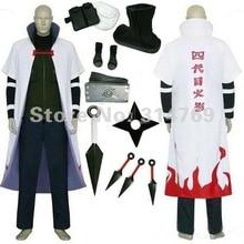 Наруто Косплей Костюмы Комплекты Yondaime 4-й Хокаге Плащ Пальто с Weapeon Аксессуары для Halloween Party