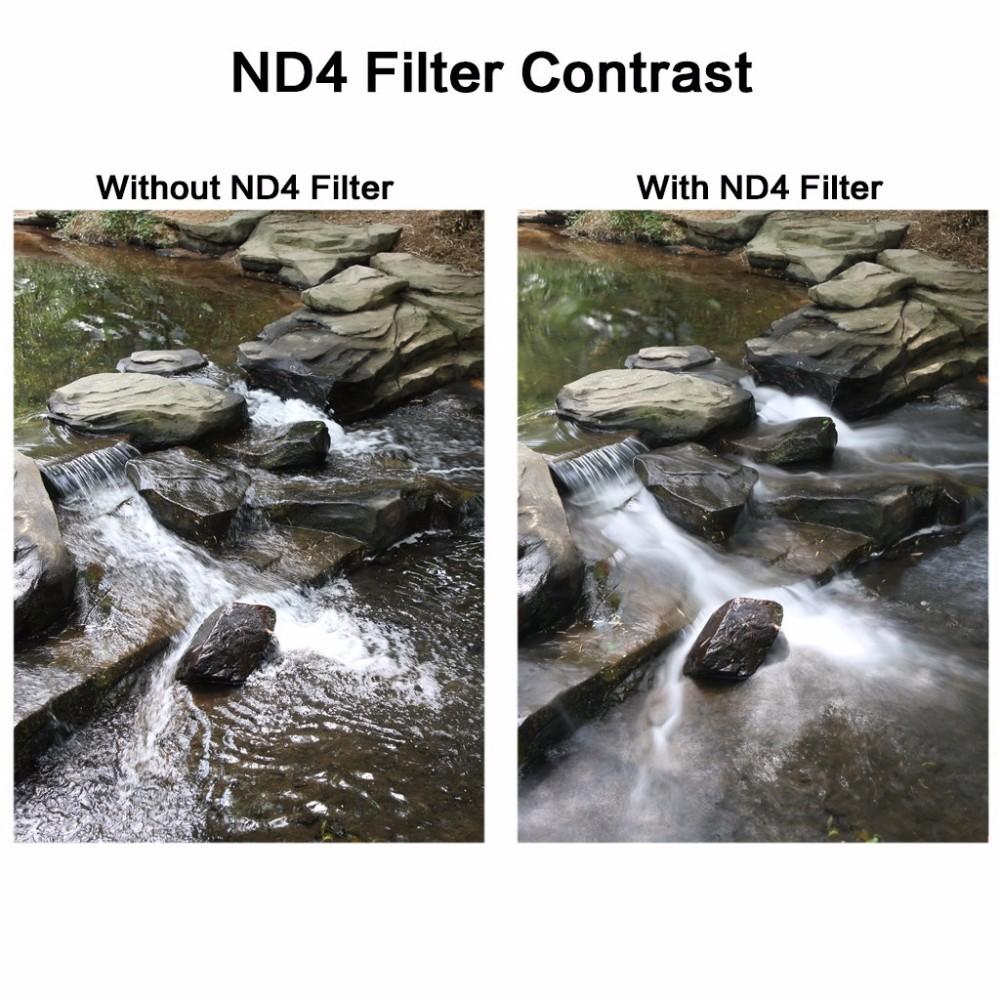 K&F CONCEPT UV+CPL+FLD+ND4 Neutral Density Camera Lens Filter Kit+Bag+Lens Hood Cap+Cleaning Cloth For Canon/Nikon/Sony DSLR 10