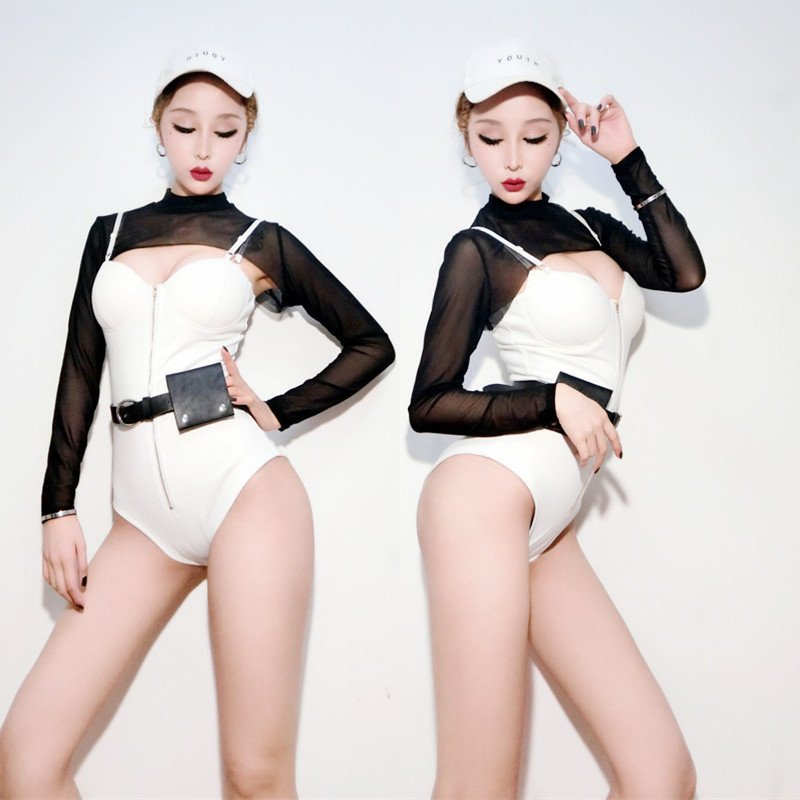 New Stage Packed Bar DS DJ Singer Costume Nightclub Collar Dance Jazz Dance Sexy Playful Black And White Suit