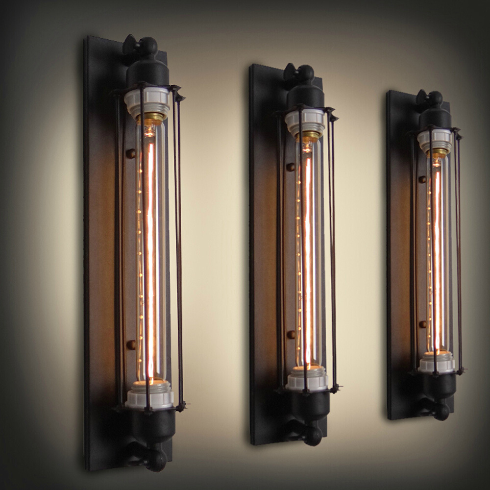 personalized antique wall light novelty test tube design iron black sconce e27 industrial wall. Black Bedroom Furniture Sets. Home Design Ideas
