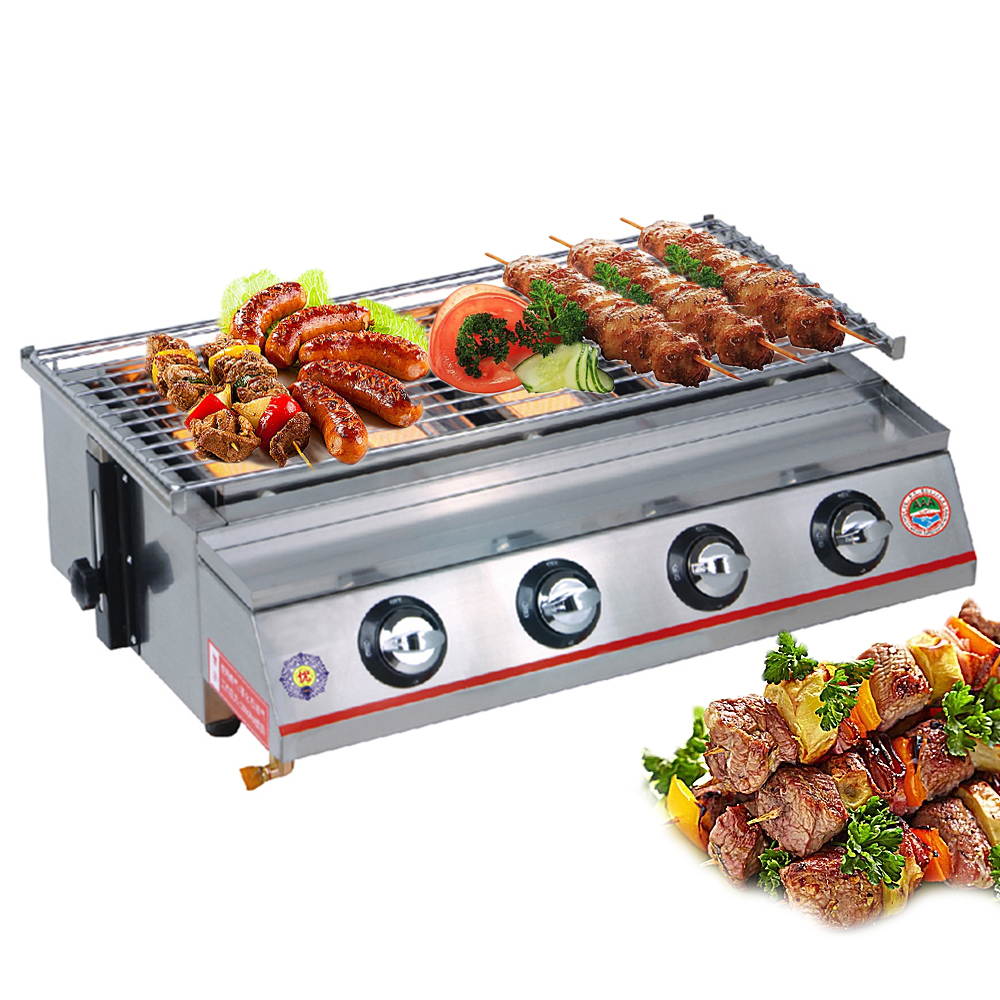 ITOP New 4 Burners LPG Grills Gas BBQ Grills Bakery Camping Picnic Outdoor Barbecue Tools Stainless Steel/ Glass Shield