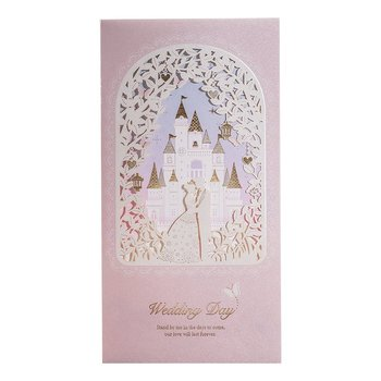 50x Blush Shimmer Floral Laser Cut Foil Wedding Invitations, Princess & Prince in Castle Glitter Wedding Card with Envelopes