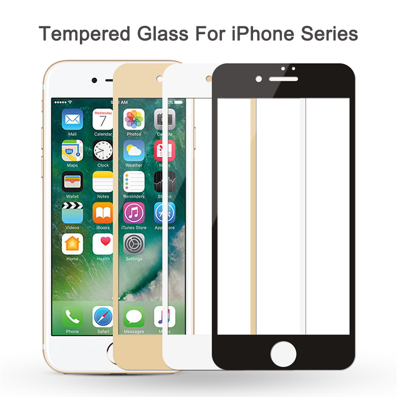 3D Protective Glass On For iPhone 7 8 6s 6 plus x xr xs max Full Cover Screen Protector Tempered Glass on iphonee iphonex xamx image