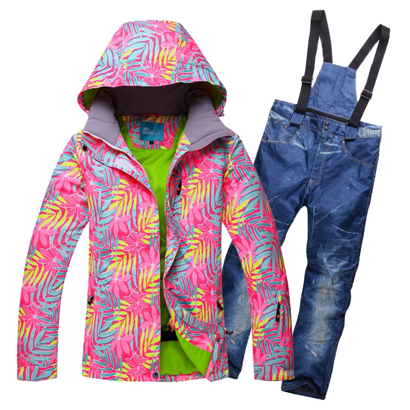 2017 New Outdoor Winter 30 Degrees Warm Ski Suit Sets Women Skiing Jacket And Pants Waterproof
