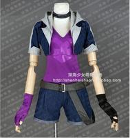 Jinx Cosplay Costume Outfit Halloween Uniform Coat+Top+Neck+Belt+Pants+Socks+Gloves Any Size