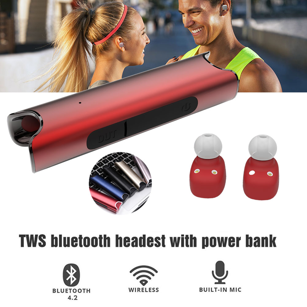 TWS S2 Mini Bluetooth headset Stereo Music Earphone built-in Mic Small Wireless Earbud with 850mAh Recharge battery for iphone 7 2017 scomas i7 mini bluetooth earbud wireless invisible headphones headset with mic stereo bluetooth earphone for iphone android