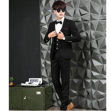 Latest males's ball robe wedding ceremony greatest man go well with the groom costume elegant style males three-piece go well with (jacket + pants + vest)