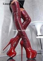 Пикантные женские высокие сапоги высокого качества из змеиной кожи роскошные пикантные женские высокие сапоги выше колена с острым носком