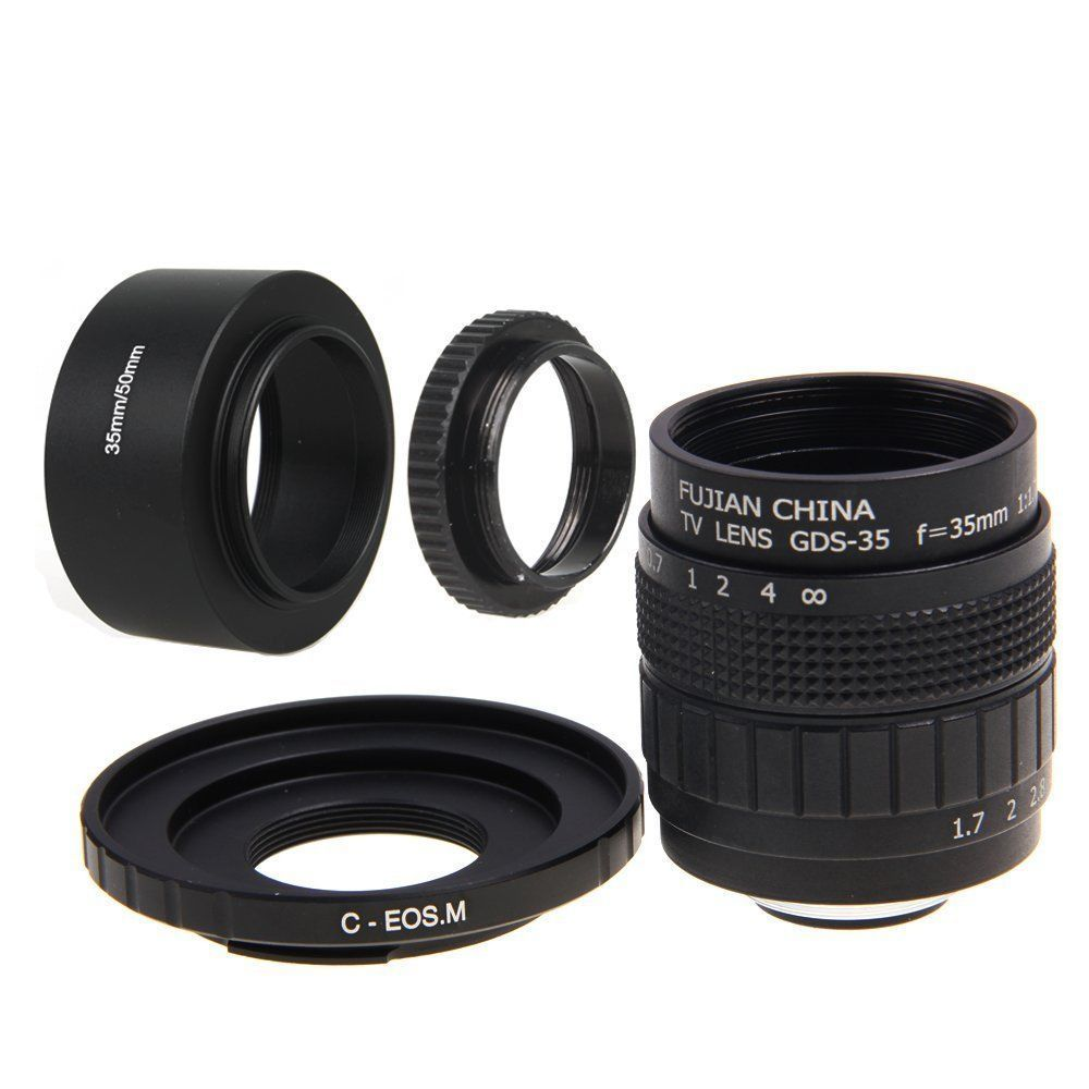 Fujian 35mm F1.7 CCTV Movie lens +C Mount +lens Hood for Canon EOS M M2 M3 Camera image