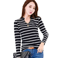 2017 Autumn And Winter Striped T Shirts Women Tops New Fashion Rivet V Neck Long Sleeve