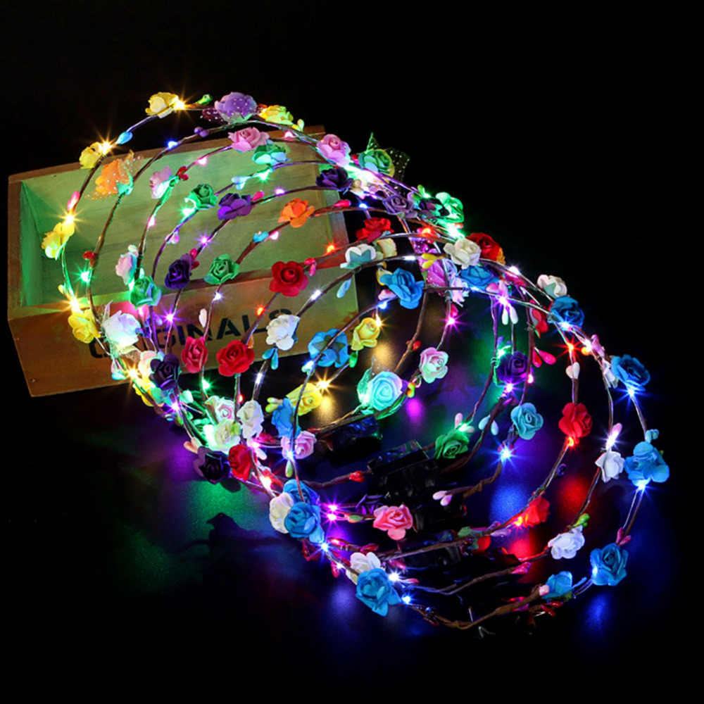 6pcs LED พวงหรีดดอกไม้มงกุฎผีเสื้อ Luminous ดอกไม้ Headpiece Headdress Dropshipping รวมทั้ง Braid เครื่องมือ