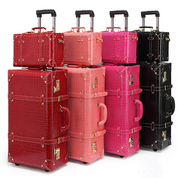Retro bag luggage Set suitcase women men travel bags,leather the box PU trolley Cosmetic case,new style, lock, mute,13 22 24 letrend korean trolley cute pink suitcase wheels cosmetic case women vintage leather travel bag retro password box cabin luggage