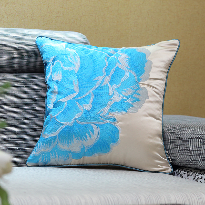 Embroidered Faux Silk Home Decorative Throw Pillow Covers Sofa Red Country  Cushion Cover Couch Rustic Blue Pillow Case Bed Chair In Cushion Cover From  Home ...