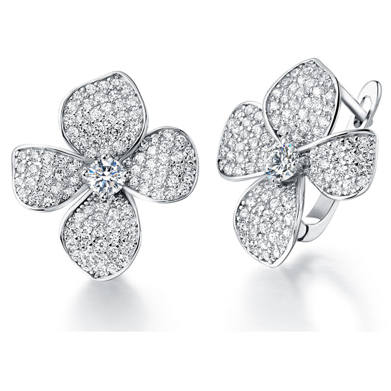 Silver Jewelry Crystal Flower Earrings Clover Shape With