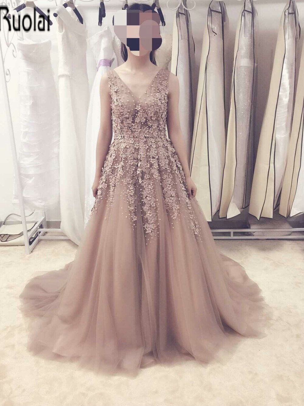 New Arrival Charming 2016 Spring Real Sample Bling Flowers Applique Beading Pearls Champagne V Neck Sexy Long Evening Dresses