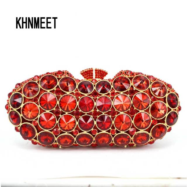 New Design Clutch Bag Red Luxury Crystal Evening Women Party Purse Bridal Wedding Day Clutches