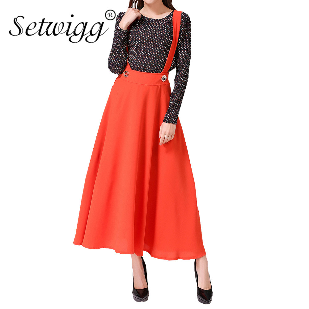 SETWIGG Summer Chiffon A-line Suspend Long Skirts Sweet Bohemian Flared Calf Length Strap Skater Skirts