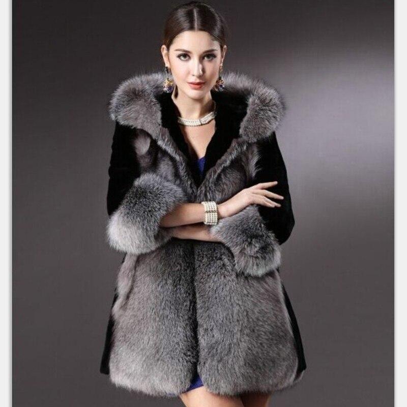 Femelle Moyen Silver 2018 À Veste Long 4xl Manteau Fox Chaud Renard Survêtement Capuchon Pardessus Noble Femmes Faux Casual Hiver De Fourrure wxqH8O