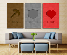 Canvas Printed Game Poster Minecraft 3 Pieces Wall Art Painting Home Decor For Living Room Artwork Cuadros