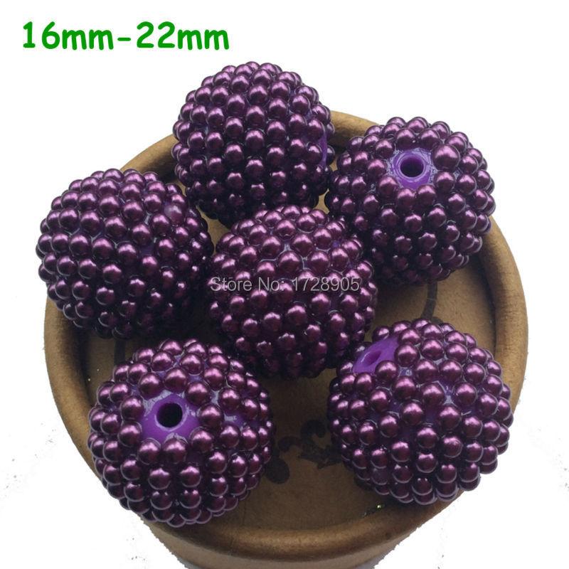 12mm 14mm 16mm 18mm 20mm 22mm 24mm 26mm 28mm Various Resin Rhinestone Bumpy Berry Beads Deep Purple Pearls Rhinestone Ball Round