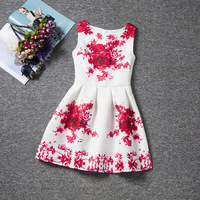 Beautiful Big Red Floral Patterns White Dresses Sleeveless O Neck Elegance Girls Dress A Line Chinese