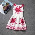 Beautiful big red floral patterns white dresses sleeveless O-neck elegance girls dress A-line chinese style baby girl clothes