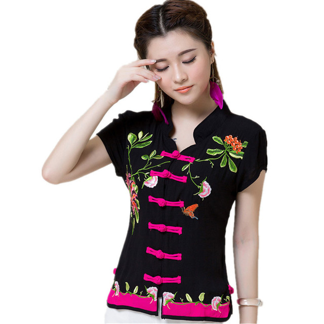 2019 Summer Women Blouse Shirt Quality Cotton Brand Vintage Embroidery Casual Ladies Body Tops Tee Blusa Feminina Mujer Clothing