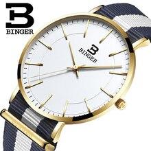 Швейцария BINGER мужчины часы люксовый бренд ультратонкий ограниченным тиражом Водонепроницаемый любителей кварцевые Наручные Часы B-3050M-2