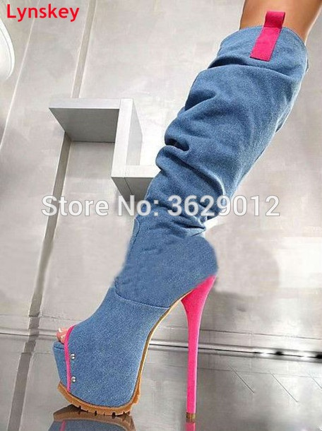 Lynskey Denim Knee High Boots Woman Fashion Jeans Shoes for Women High Heels Platform Peep Toe Boots