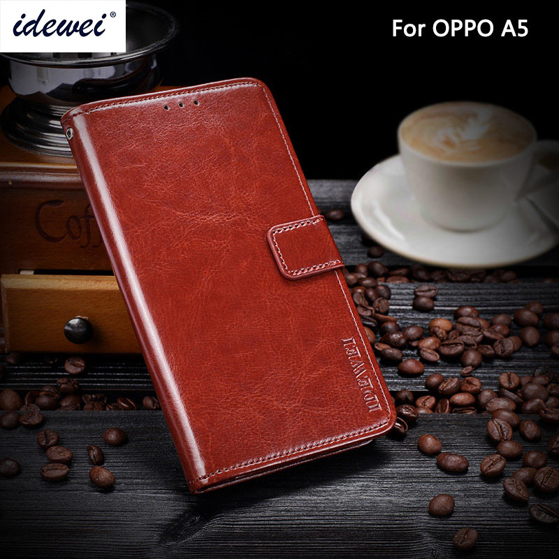 OPPO A5 Case Cover Luxury Leather Phone Case For OPPO A5 Protective Flip Case Wallet Case 6.2