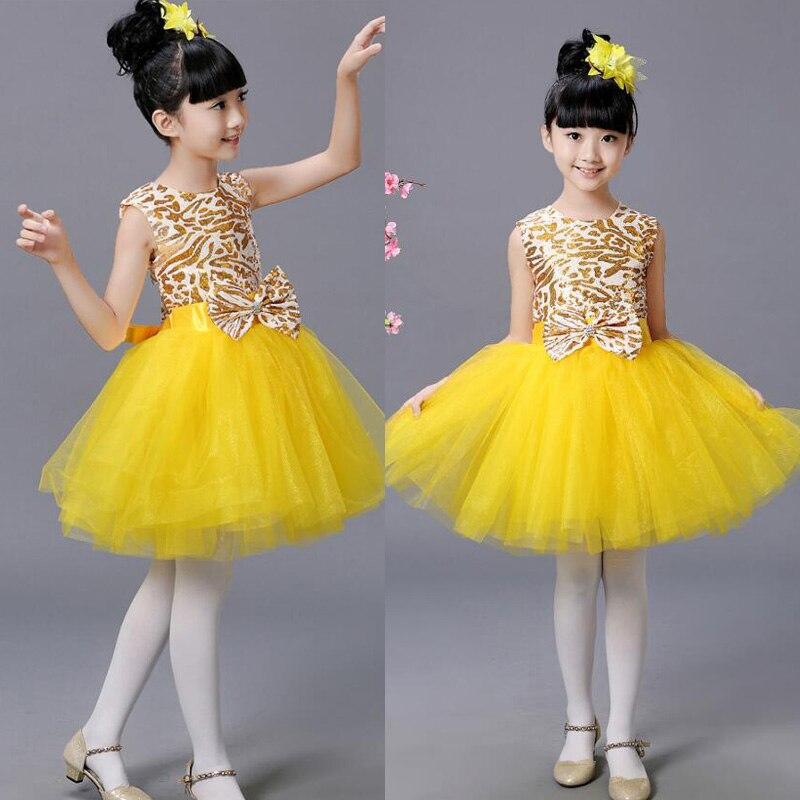 Детская современная одежда для балета; Одежда для танцев; Одежда для девочек в стиле хип-хоп; вечерние костюмы для бальных танцев; одежда для детей - Цвет: Цвет: желтый