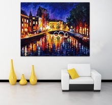 Netherlands-Amsterdam London Cityscape Architecture Picture 100% Hand-painted Palette Knife Oil Painting Unframed Canvas Art