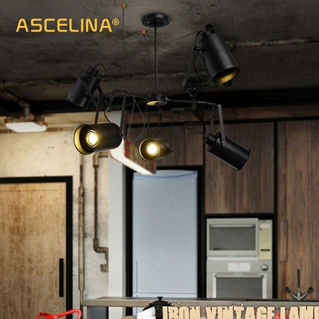 Ascelina Led Pendant Light American Retro Creative Adjule Spotlight Multiple Lamp Holder Rooms Bar Clothing