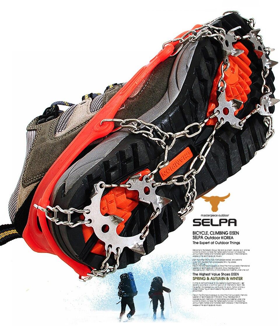 Качественные уличные альпинистские противоскользящие скобы для зимней ходьбы, 18 зубов, для подледной рыбалки, снегоступы из марганцевой стали, Нескользящие бахилы