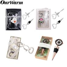 OurWarm 10pcs/set Love Heart Corkscrew Wine Bottle Opener + Wine Stopper Keychain Party Guest Gifts Wedding Baby Shower Birthday цена
